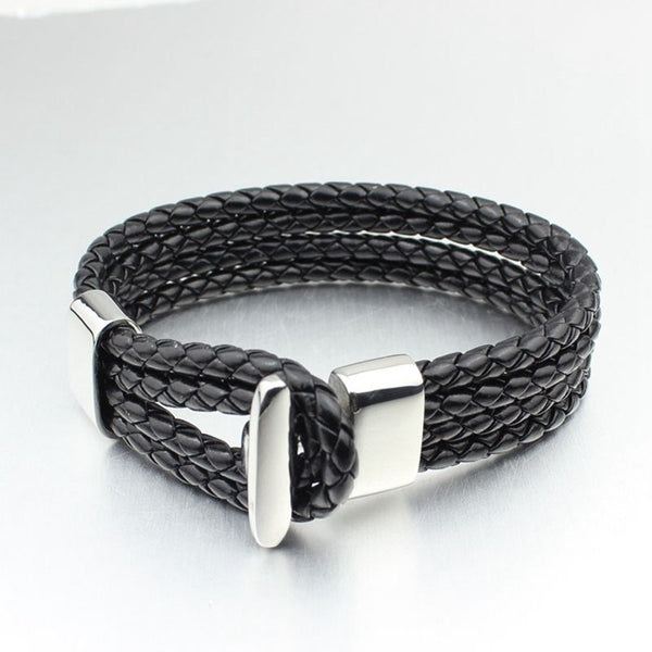 Genuine Leather Braided Bracelet with Stainless Steel Hook Closure and AccentBracelets,  - Things to Zen About