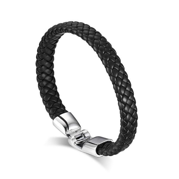 Men's Genuine Leather Braided Bracelet with Stainless Steel Hook-Thru Accent ClosureLeather Bracelets,  - Things to Zen About