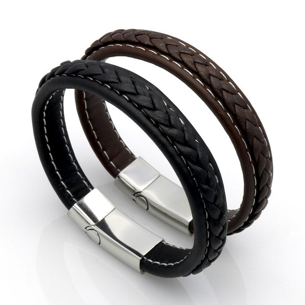 Genuine Leather Braided Leather Bracelet with Steel Magnetic Slide ClosureLeather Bracelets,  - Things to Zen About
