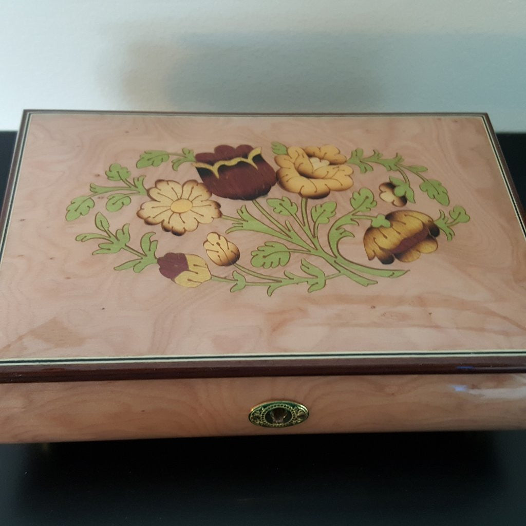 Italian Hand-Crafted Inlaid Wood Jewelry Music Box, Reuge Romance Mechanism Plays 'Memory', Floral Bouquet InlayMusic Jewelry Box,  - Things to Zen About