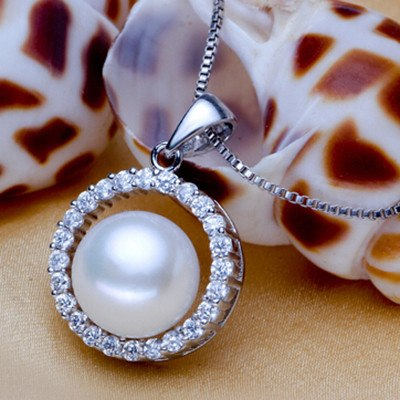Natural Freshwater Pearl Encircled with Crystal Accents and Set in Sterling SilverNecklace,  - Things to Zen About