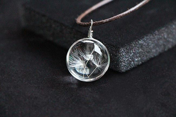 Make a Wish Genuine Dandelion in Glass Ball with Leather NecklacePendant Necklaces,  - Things to Zen About