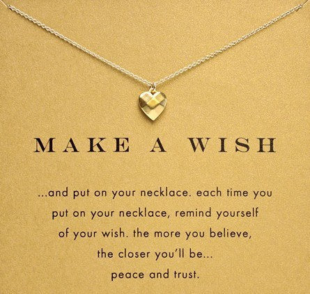 Sparkling Make-a-Wish Heart Pendant and Chain - Gold-TonePendant Necklaces,  - Things to Zen About