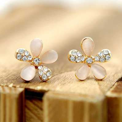 Women's Dainty Diamond and Opal Flower Stud Earrings, HypoallergenicStud Earrings,  - Things to Zen About