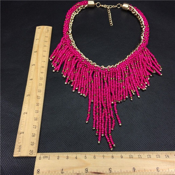 Make a Statement with this Necklace of Long Handwoven Beaded TasselsStatement Necklaces,  - Things to Zen About