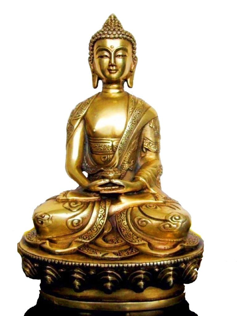 Bronze Tibetan Buddha Amitabha Sitting Atop the Legendary DragonStatues & Sculptures,  - Things to Zen About