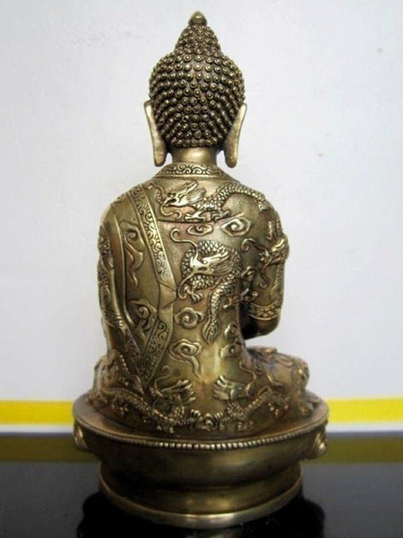 "Statues & Sculptures - Solid Bronze Tibetan Buddhis Amitabha On The Back Of The Dragon Statue 15""x11""x7"""