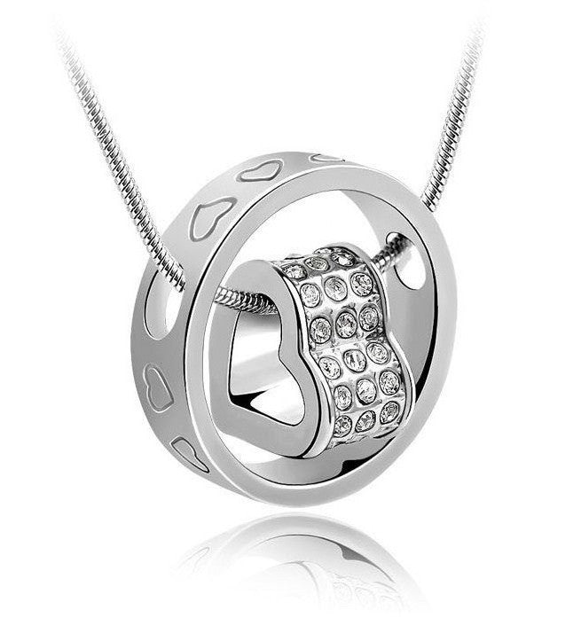 "Sterling Silver Heart and Crystal Accented Circle Pendant with 18"" ChainSterling Silver Necklace,  - Things to Zen About"