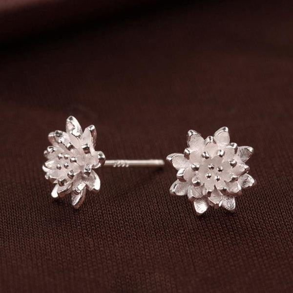 Sterling Silver Lotus Flower Stud EarringsStud Earrings,  - Things to Zen About