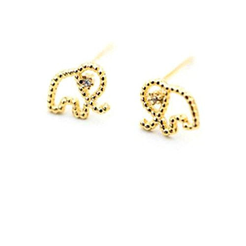 Small Elephant and Diamond Accent Stud EarringsStud Earrings,  - Things to Zen About