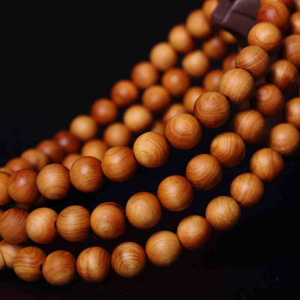 Tibetan Buddhist Meditation Bracelet and Mala Prayer Beads - 108 Natural Color WoodWooden Bead Bracelets,  - Things to Zen About
