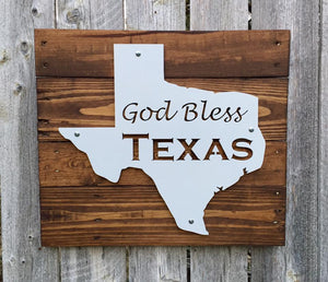 Texas God Bless Texas Metal Sign