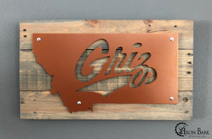 University of Montana Griz Metal Sign
