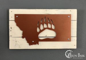 University of Montana Griz {Paw} Metal Sign