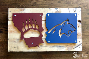 Montana House Divided Cat vs. Griz Metal Sign