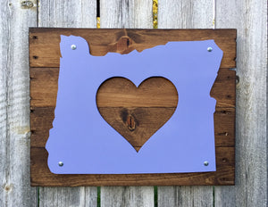 Oregon Heart Metal Sign