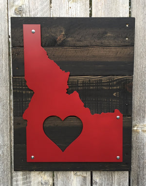 Idaho Heart Metal Sign