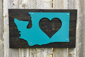Washington Heart Metal Sign