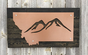 Montana Mountain Metal Sign