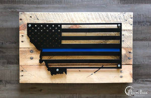 Montana Thin Blue Line Metal Sign