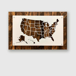 Map of the United States outlined in metal - Wall hanging