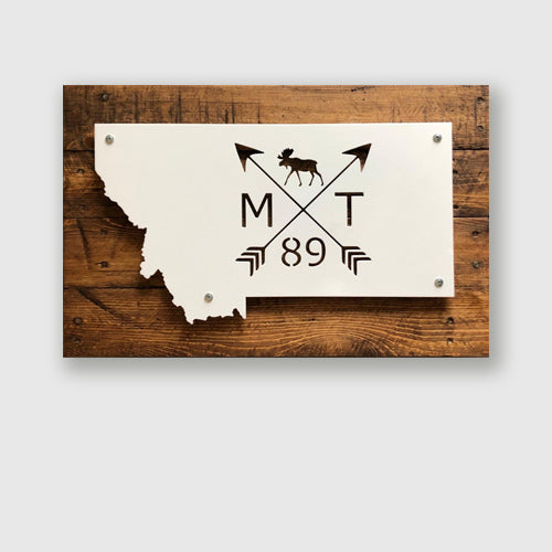 Established in 1889 Montana metal decor sign with arrows and moose