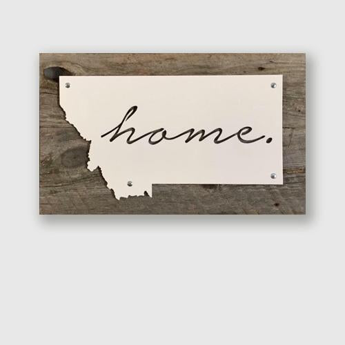 Montana state with home written in cursive wall decor