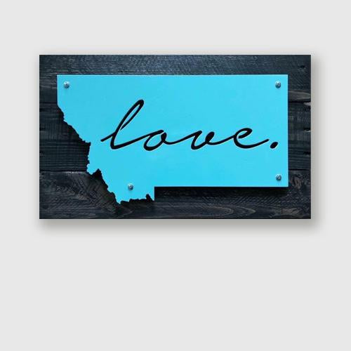 Montana love sign interior wall sign on upcycled wood pallet
