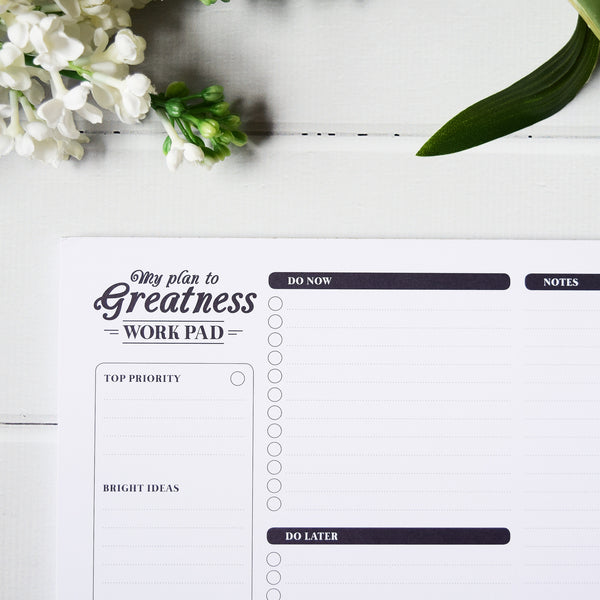 Up & Atem - Green Pea Books - My Plan to Greatness Workpad - Black 1 front