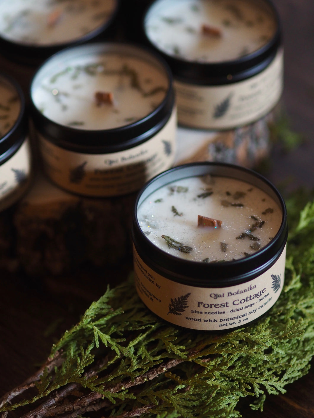 Forest Cottage - Pine Needle & Sage - Mini Wood Wick or Cotton Wick Soy Candle - Limited Edition