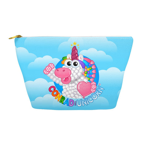 The Official Conrad the Unicorn Logo Accessory Pouch in Blue Clouds