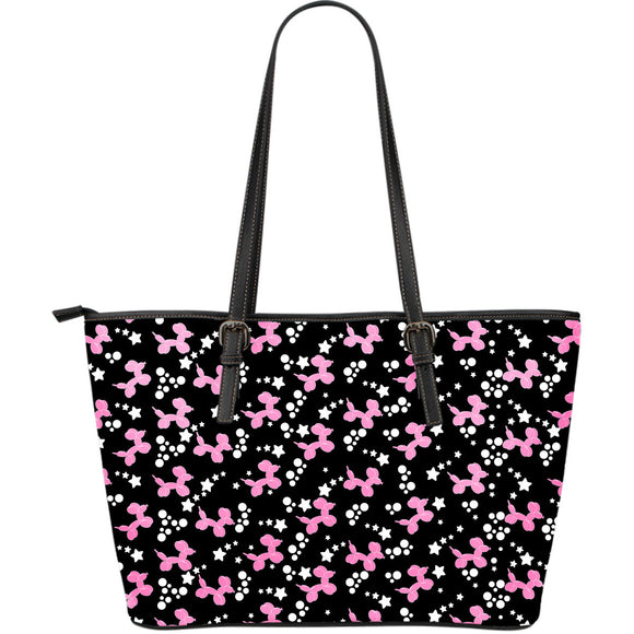 Pink Dogs Large Leather Tote Bag
