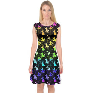 Capsleeve Midi Dress in Rainbow Classics