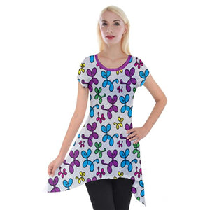 Swirly Pups Pattern Tunic - Gray