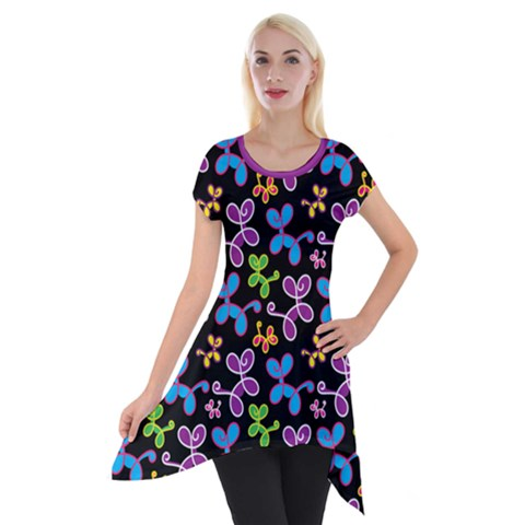 Swirly Pups Pattern Tunic - Black
