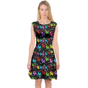 Balloon Dog Christmas Lights Midi Dress