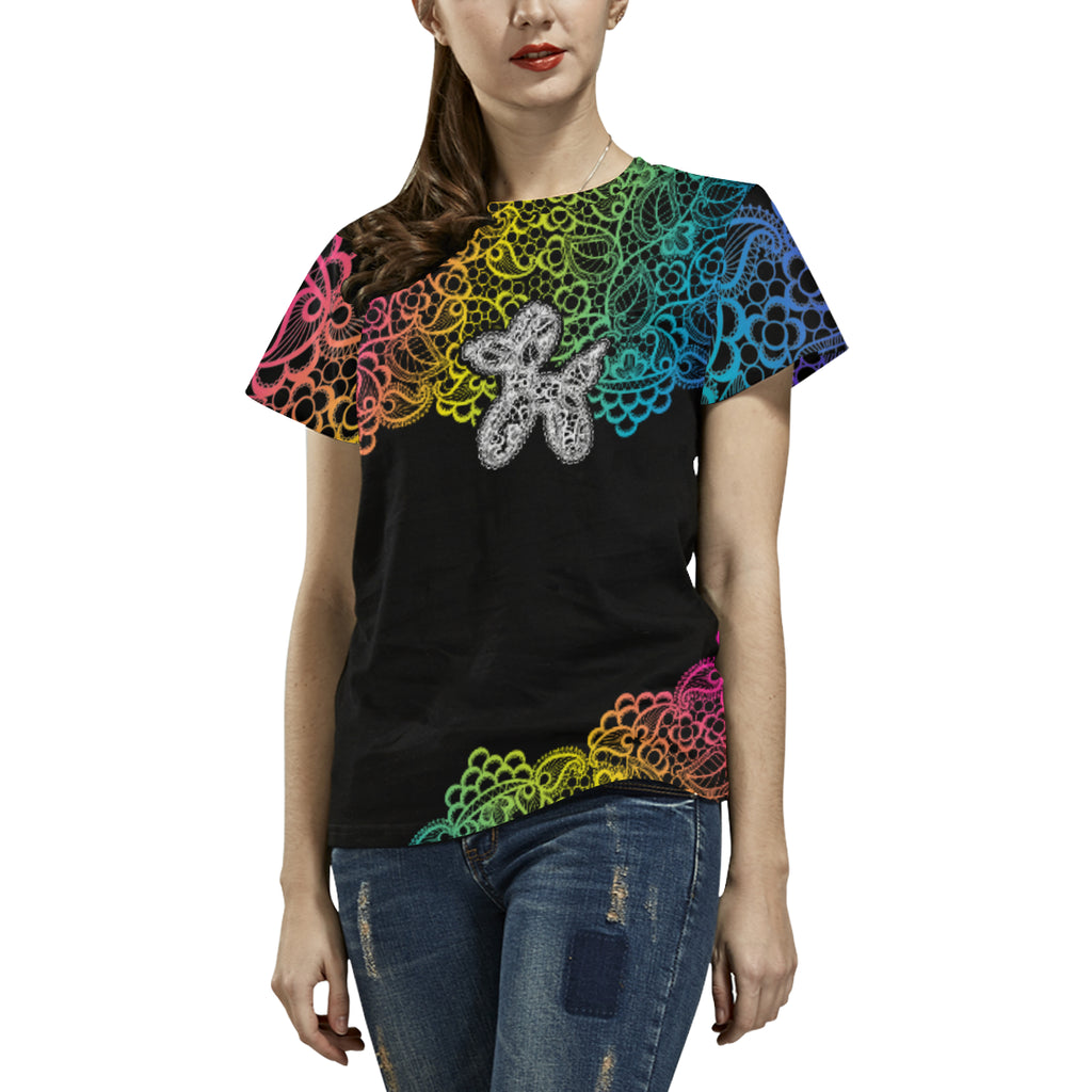Lace Dogs All Over Print T-Shirt for Women (USA Size) (Model T40)