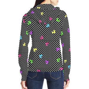 Polka Dogs Balloon Animal Full Zip Hoodie for Women