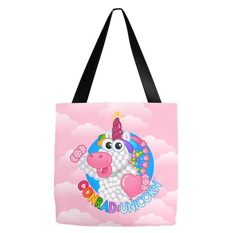Official Conrad the Unicorn Logo Pink Clouds Tote