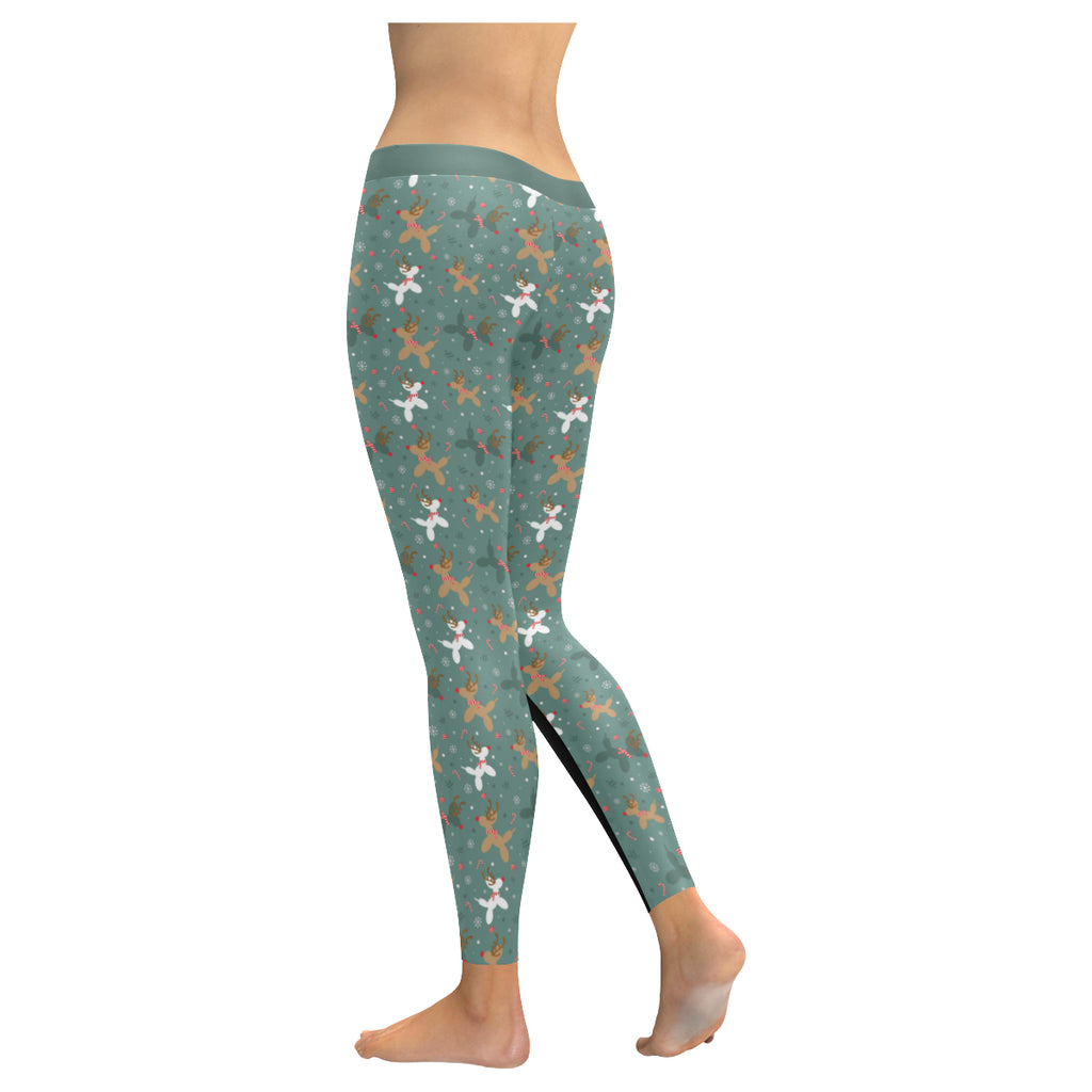Green Reindeer Balloon Dog Leggings