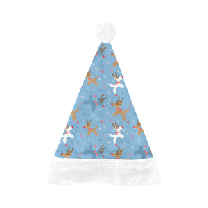 Blue Reindeer Balloon Dog Santa Hat