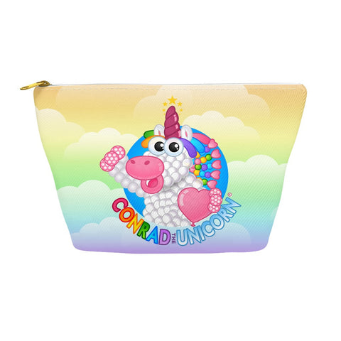 The Official Conrad the Unicorn Logo Accessory Pouch in Rainbow Clouds