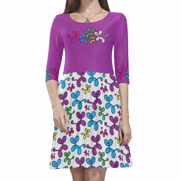 Swirly Pups Skater Dress