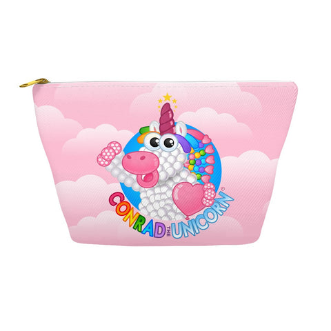 The Official Conrad the Unicorn Logo Accessory Pouch in Pink Clouds