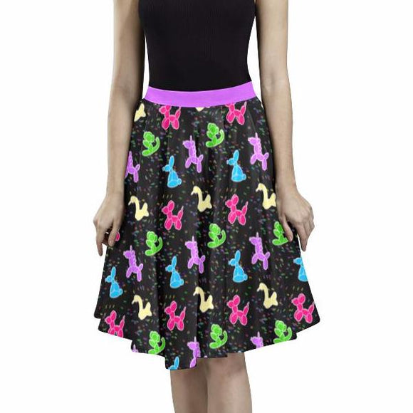 Classic Balloon Animals on black Pleated Midi Skirt