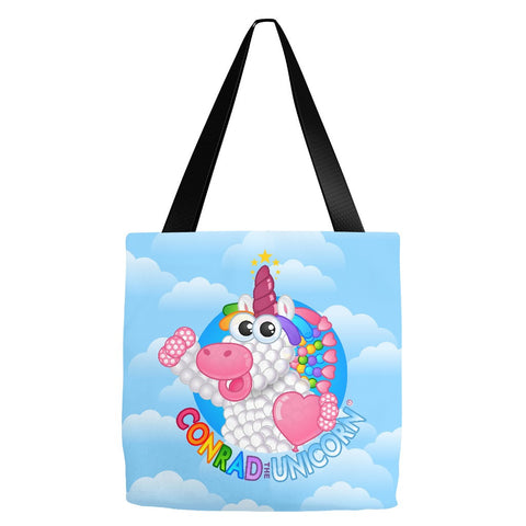 Official Conrad the Unicorn Logo Blue Clouds Tote