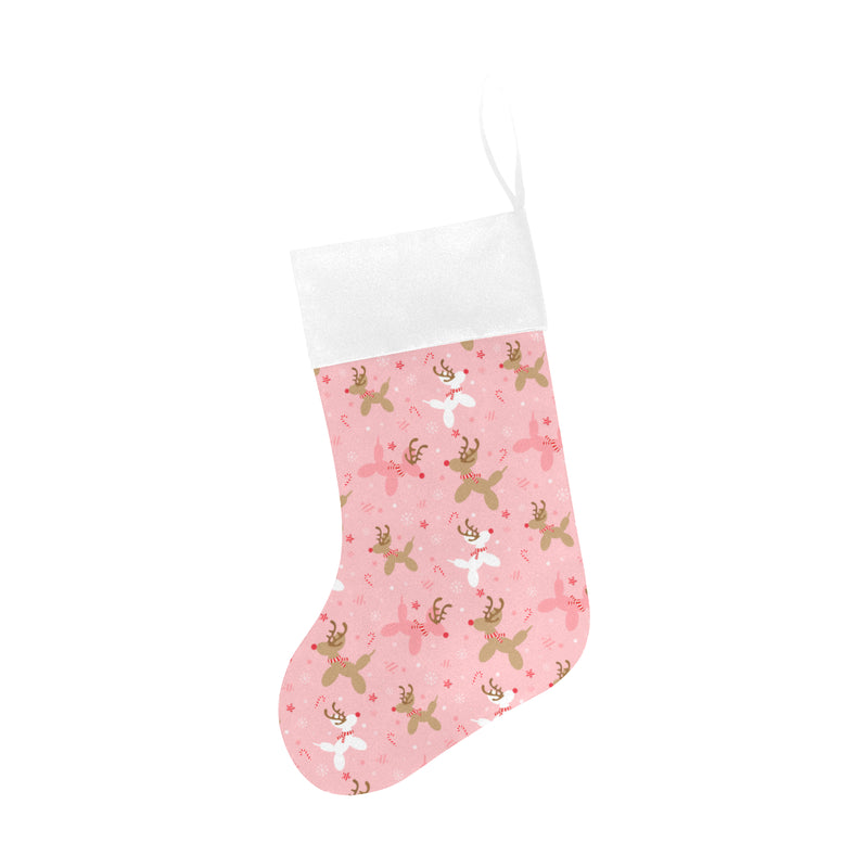 Pink Reindeer Christmas Stocking