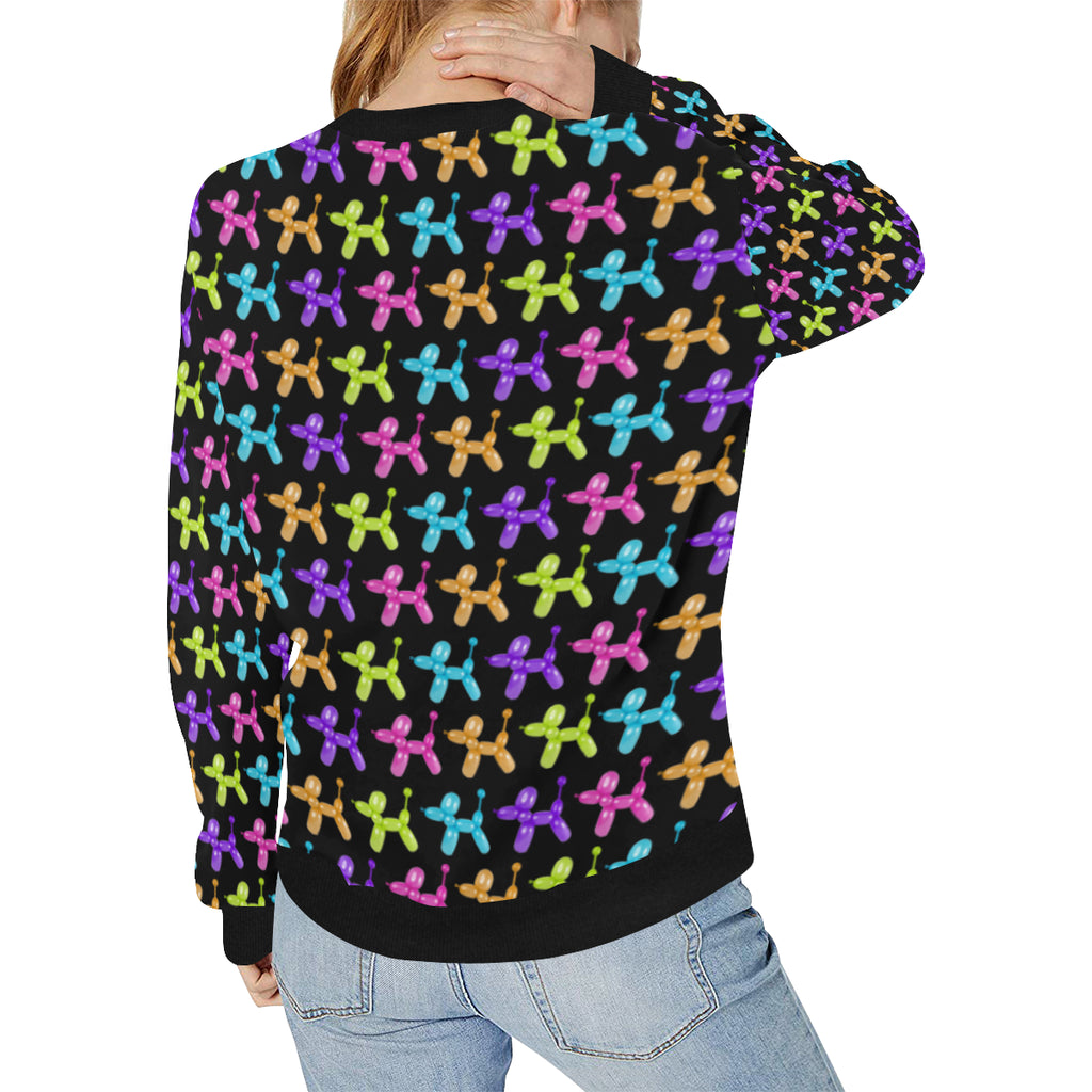 Color Pop Balloon Dog Women's Rib Cuff Crew Neck Sweatshirt