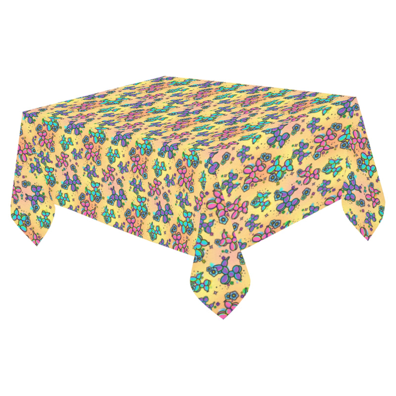 Graffiti Dogs Yellow Cotton Linen Tablecloth 52