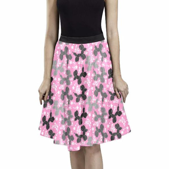 Pink Retro Pleated Midi Skirt